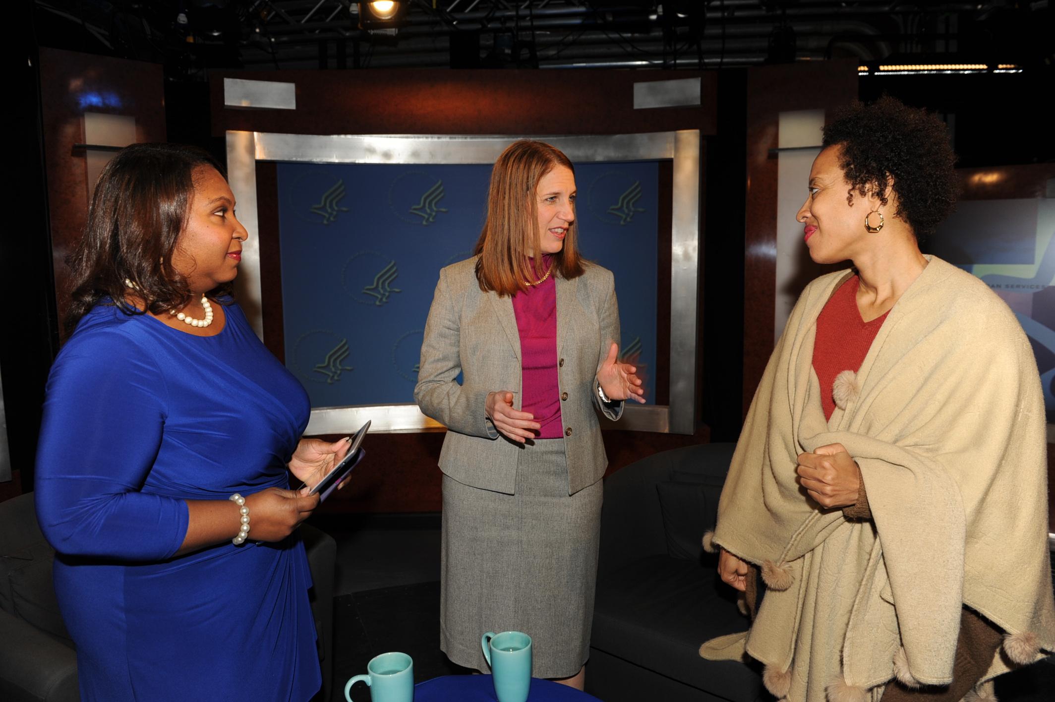 Meredith, DHHS Secretary Sylvia Matthews Burwell & Xina Eiland